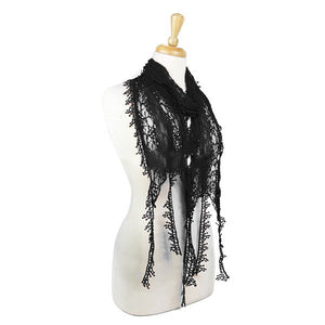 Wholesale Bulk Pack Lace Scarf Long Snowflake Fringe Tassel Sheer Embroidery Solid Color Black-GDP148