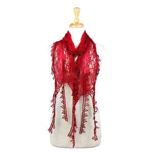 Wholesale Bulk Pack Lace Scarf Long Snowflake Fringe Tassel Sheer Embroidery Solid Color Burgundy-GDP144