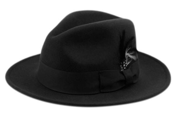 Wholesale Bulk Pack Wool Felt Fedora Hats With Feather-GDP3564