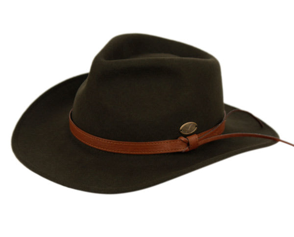 Wholesale Bulk Pack Wool Felt Outback Fedora Hats With Faux Leather Band-GDP3612