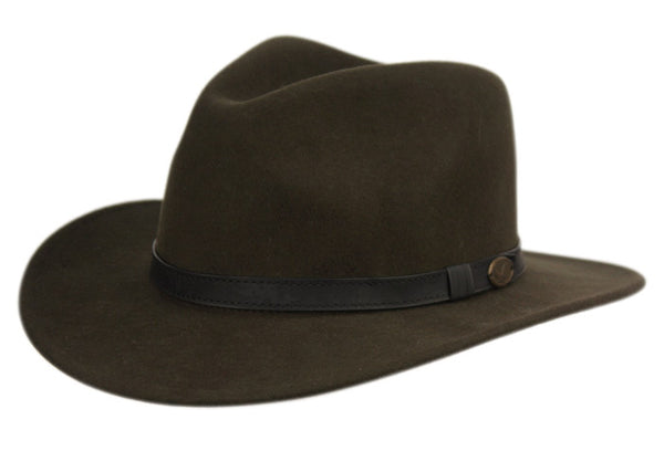 Wholesale Bulk Pack Wool Felt Outback Fedora Hats With Faux Leather Band GDHE57