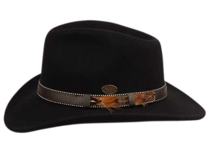 648a7eb836c1ea ... Wholesale Bulk Pack Wool Felt Outback Fedora Hats With Dotted Faux  Leather Band GDHE58 ...