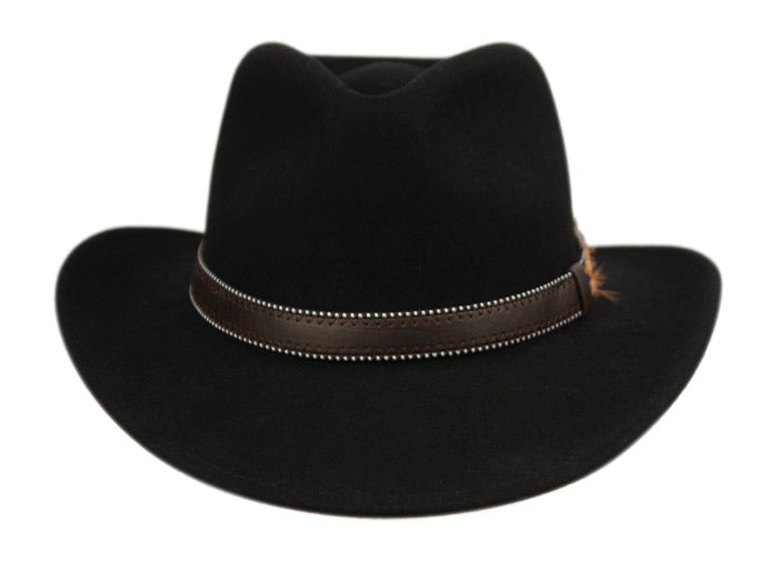 31272e2bff5d72 Wholesale Bulk Pack Wool Felt Outback Fedora Hats With Dotted Faux Leather  Band GDHE58 ...