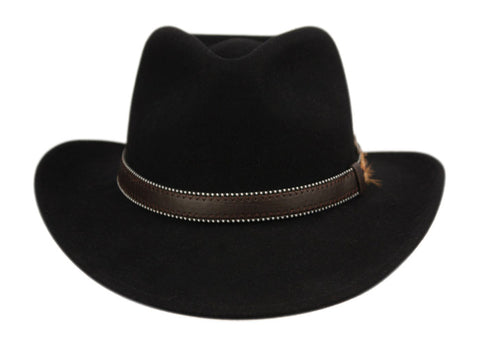 Wholesale Bulk Pack Wool Felt Outback Fedora Hats With Dotted Faux Leather Band GDHE58