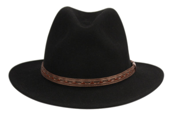 Wholesale Bulk Pack Wool Felt Outback Fedora Hats With Faux Leather Band-GDP3619