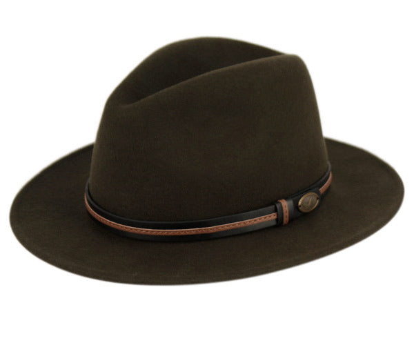 Wholesale Bulk Pack Wool Felt Outback Fedora Hats With Two Tone Faux Leather Band GDHE60