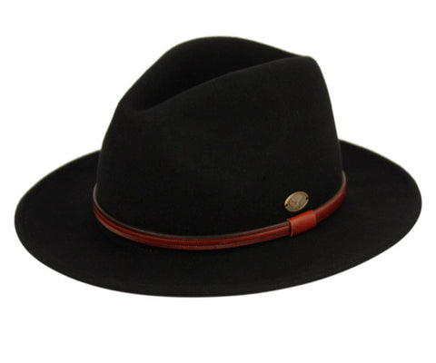 Wholesale Bulk Pack Wool Felt Outback Fedora Hats With Faux Leather Band GDHE61