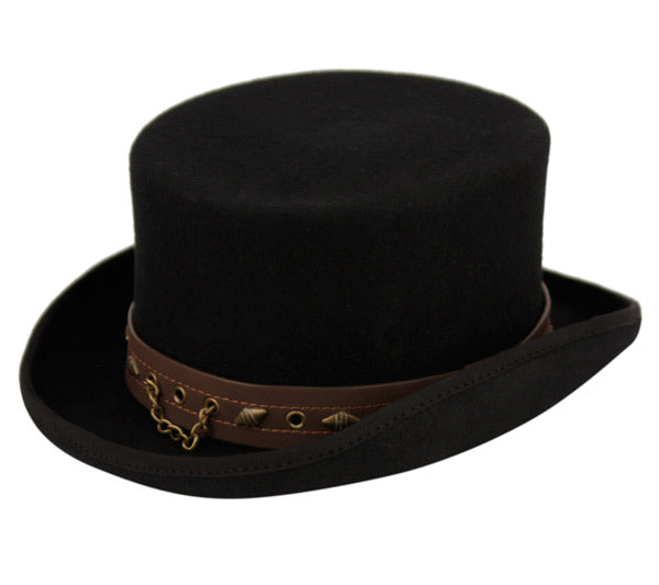 Wholesale Bulk Pack Low Crown Steampunk Top Hat With Pu Band And Chain-GDP3637