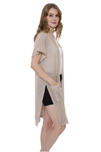 Wholesale Bulk Pack Stripes pattern Long Kimono with pockets in front and side slit-GDP491