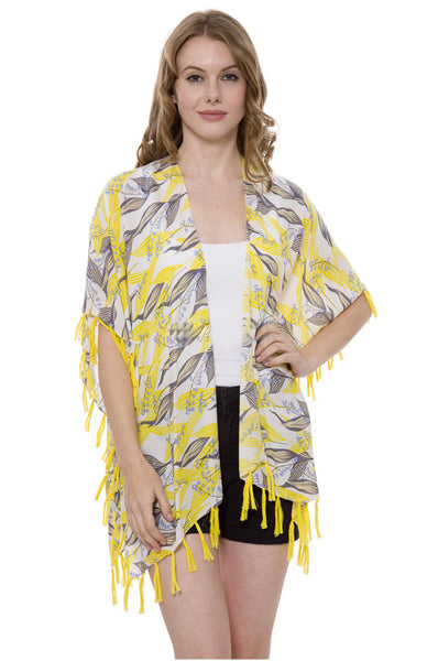 Wholesale Bulk Pack Lily-of-the-Valley print Topper / Cover-Up / Kimono with Tassels-GDP488