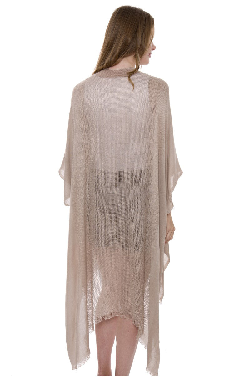 Wholesale Bulk Pack Solid Color Topper / Cover-Up / Kimono with Fringe-GDP557
