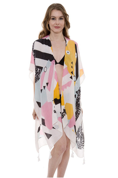 Wholesale Bulk Pack Abstract print Long Light Topper / Kimono with Tassels-GDP485