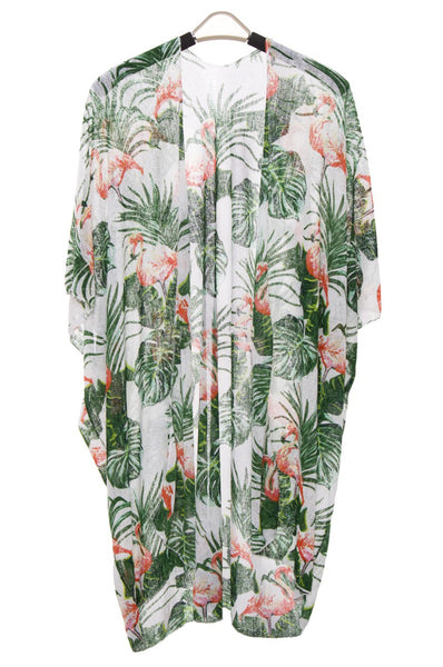 Wholesale Bulk Pack Flamingo print Short Light Topper / Cover-up / Kimono-GDP472