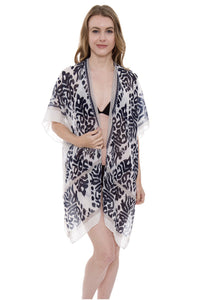 Wholesale Bulk Pack Kilim/Ikat print Light Long Topper / Kimono with Tassels-GDP578