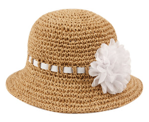 Wholesale Bulk Pack Kids Paper Straw Bucket Hats With Ribbon Band & Flower GDKD2794