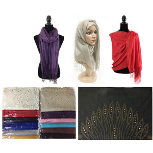 Wholesale Bulk Pack Fashion Rhinestones Lightweight Scarves GDM102
