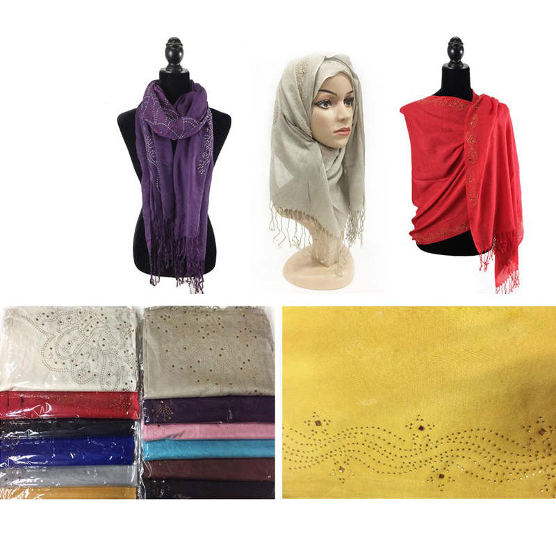 Wholesale Bulk Pack Fashion Rhinestones Lightweight Scarves GDM104