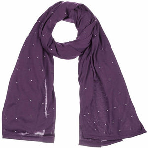 Wholesale Bulk Pack Jersey Scarves Fashion Oblong Plain Head Scarf Wrap Shawls Purple-GDP964
