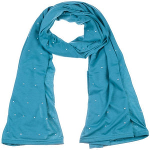 Wholesale Bulk Pack Jersey Scarves Fashion Oblong Plain Head Scarf Wrap Shawls Teal-GDP948