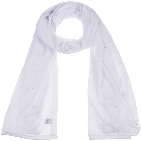 Wholesale Bulk Pack Jersey Scarves Fashion Rhinestones Oblong Plain Head Scarf Wrap Shawls White-GDP926