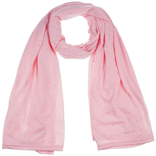Wholesale Bulk Pack Jersey Scarves Fashion Rhinestones Oblong Plain Head Scarf Wrap Shawls Pink-GDP908