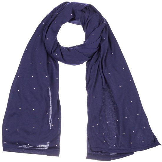 Wholesale Bulk Pack Jersey Scarves Fashion Rhinestones Oblong Plain Head Scarf Wrap Shawls Navy-GDP904