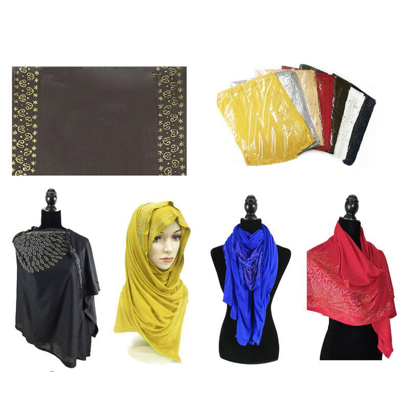 Wholesale Bulk Pack Fashion Rhinestones Jersey Scarves GDM19