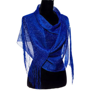 Wholesale Bulk Pack Lightweight Metallic Scarf Royal Blue-GDP780