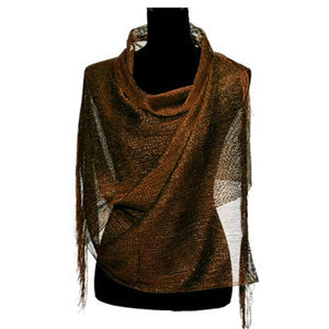 Wholesale Bulk Pack Lightweight Metallic Scarf Coffee-GDP766
