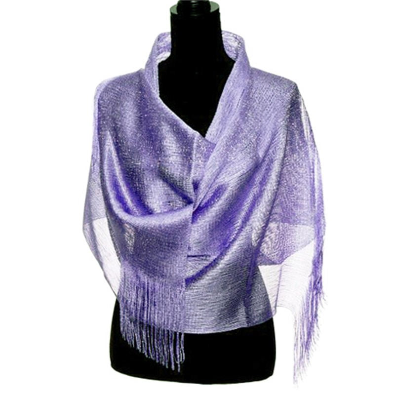 Wholesale Bulk Pack Lightweight Metallic Scarf Light Purple-GDP764