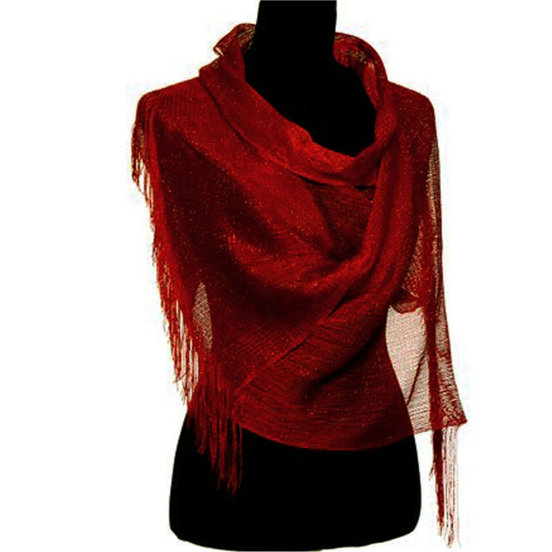 Wholesale Bulk Pack Lightweight Metallic Scarf Burgundy-GDP762