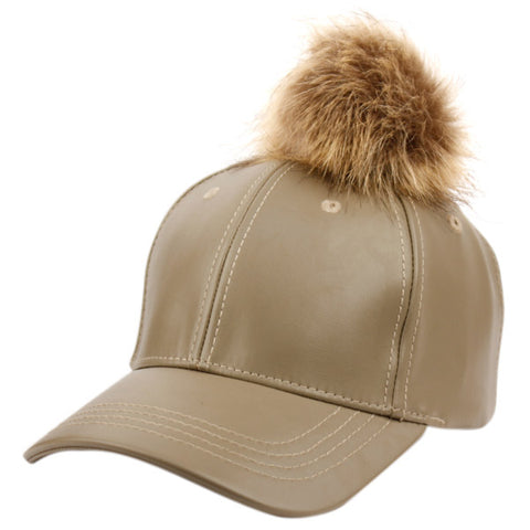 Wholesale Bulk Pack Faux Leather Six Panel Caps W/Pompom-GDP2096