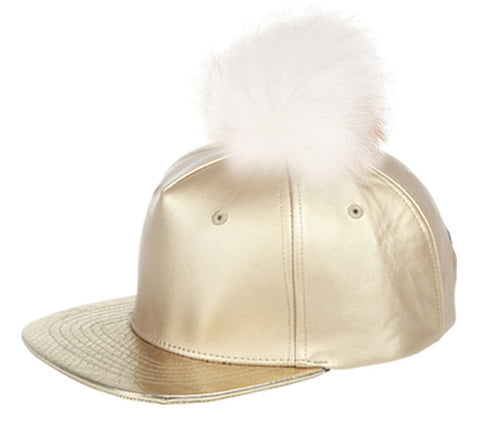 Wholesale Bulk Pack Fashion Faux Leather Cap With Pom Pom-GDP2090
