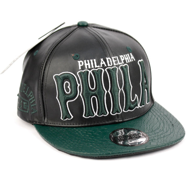 Wholesale Bulk Pack Faux Leather Caps With Philly-GDP2344