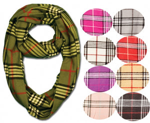 Wholesale Bulk Pack Plaid Neck Warmer Loop Infinity Scarves GDSC1799 A