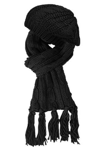 Wholesale Bulk Pack Knit Beret And Scarf Sets Black-GDP263