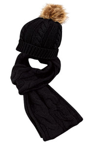 Wholesale Bulk Pack Knit Beanie Hats With Pom Pom & Knit Scarf-GDP2841