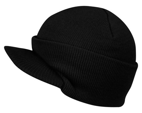 Wholesale Bulk Pack Black Knit Beanie With Visor-GDP2744