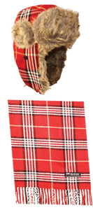 Wholesale Bulk Pack Plaid Trooper Hats And Scarf Set-GDP196