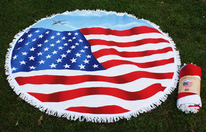 Wholesale Bulk Pack Us Flag Summer Round Beach Towel GDTW05