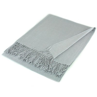 Wholesale Silver Solid Pashmina Scarf-GDP1401