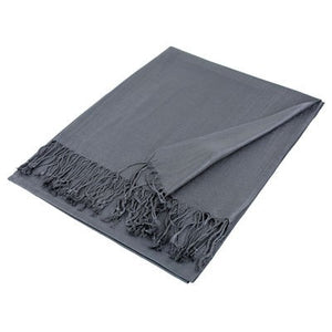 Wholesale Gray Solid Pashmina Scarf-GDP1387