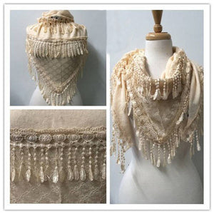 Wholesale Bulk Pack Lace Triangle Scarf Beige GDYH06-12