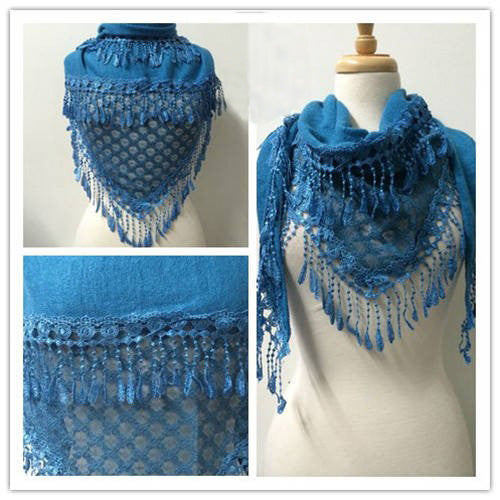 Wholesale Bulk Pack Lace Triangle Scarf L Jean Blue GDYH06-14