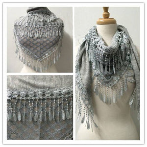 Wholesale Bulk Pack Lace Triangle Scarf L Gray GDYH06-28