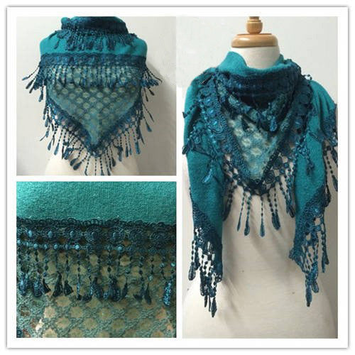 Wholesale Bulk Pack Lace Triangle Scarf Teal GDYH06-37
