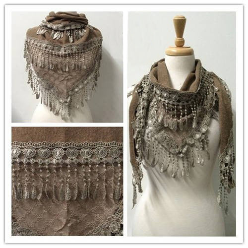Wholesale Bulk Pack Lace Triangle Scarf Brown GDYH06-47
