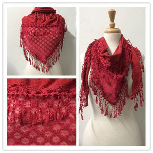 Wholesale Bulk Pack Lace Triangle Scarf Purplish Red GDYH06-64