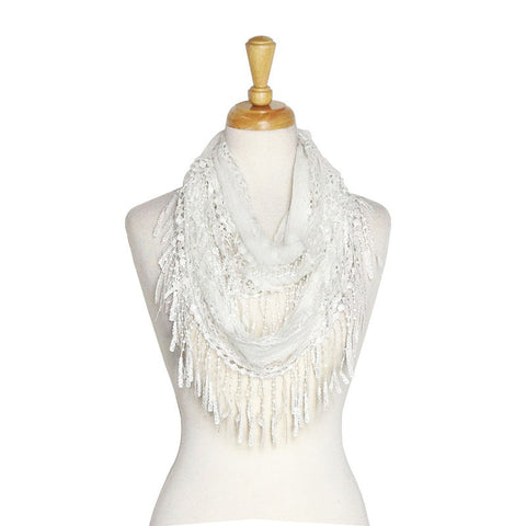 Wholesale Bulk Pack Lace Infinity Scarf White  GDYH18-02