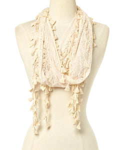 Wholesale Bulk Pack Long Tassel Lace Scarf Wrap Beige GDYH25-1